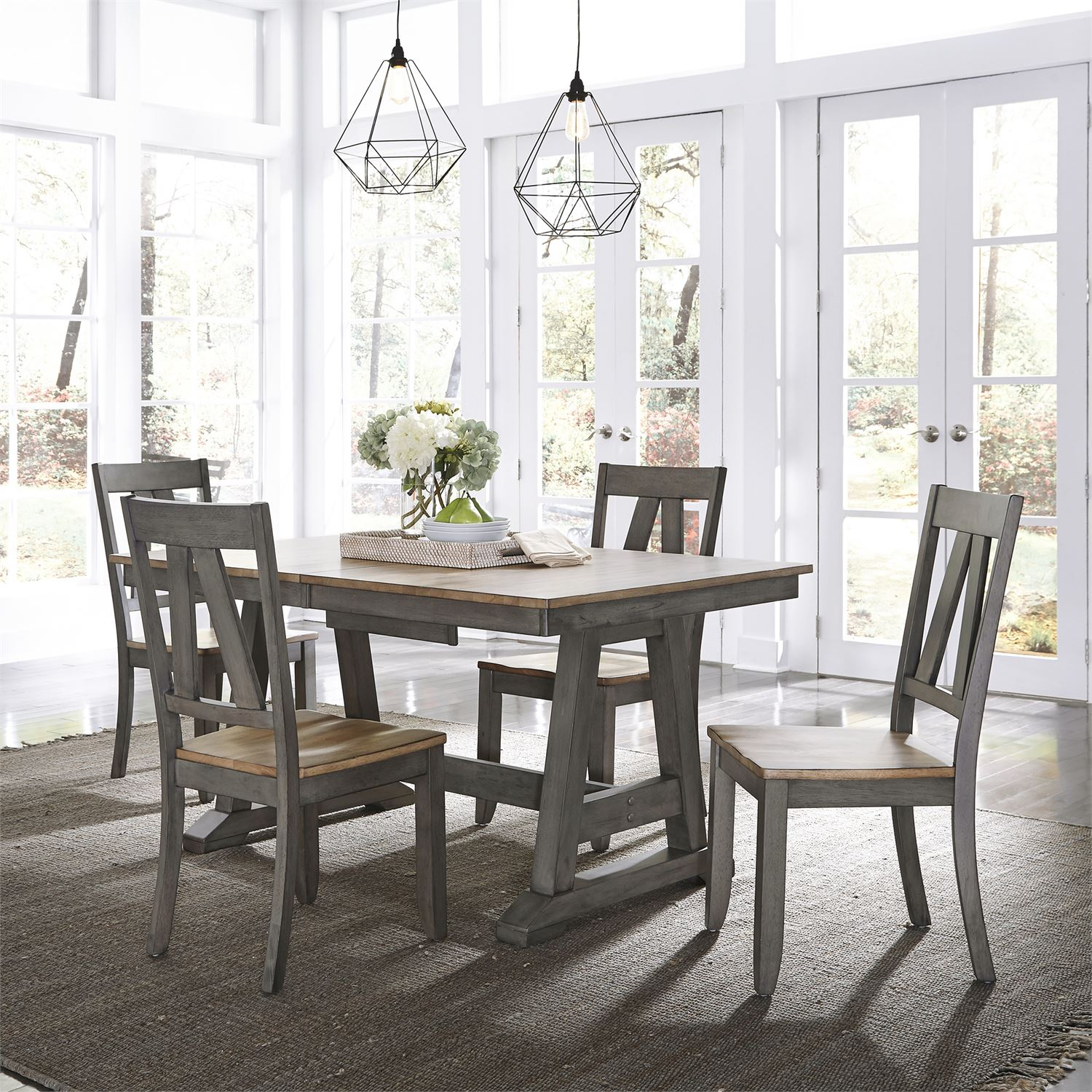 Lindsey Farm 5 piece Trestle Table set